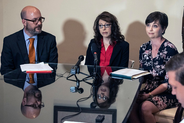 "Charissa ""Chris"" Cooke, along with her legal team, filed a federal lawsuit on Wednesday alleging a violation of her First Amendment rights occurred when she was fired by Matt Bevin for her connection to the teachers advocacy group KY 120 United. 4/24/19"