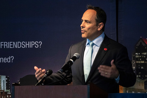 Kentucky governor Matt Bevin spoke on a number of topics during a lunch and Q&A session with members of the Rotary Club of Louisville on Thursday at the Muhammad Ali Center. 4/25/19