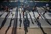 KDF Mini Marathon runners cast long shadows from the morning sun on Saturday. 4/26/19