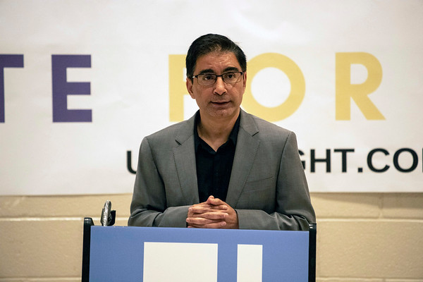 Dr. Muhammad Babar, president of the Muslim Americans for Compassion, was one of the featured speakers at a Unite For Light service at the Jewish Community Center on Tuesday night. 4/30/19