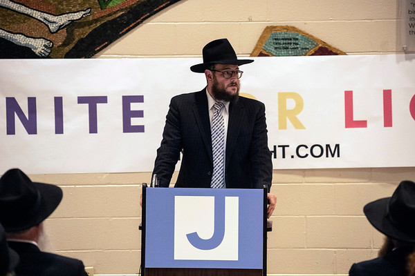 Rabbi Shmully Litvin welcomed guests to the Jewish Community Center on Tuesday night for a Unite For Light prayer service. 4/30/19