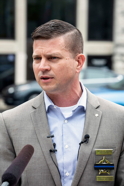 Nicolai Jilek, president of the River City FOP Lodge 614 Louisville, held a press conference near the police memorial at 6th & Liberty Streets on Friday afternoon to discuss the recently revised LMPD policies. 5/10/19