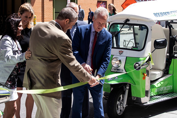 Louisville mayor Greg Fischer cut a green ribbon to celebrate the launch of the Bourbon City Cruisers new eco-friendly Tuk Tuk tours at the Omni Louisville Hotel. 5/20/19