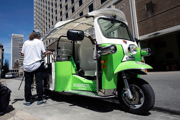 "Bourbon City Cruisers and the Omni Louisville Hotel announced on Monday morning the launch of the new Louisville Tuk Tuk tours. Described as ""transportainment,"" the eco-friendly tours will offer unique views for the downtown sightseers. 5/20/19"