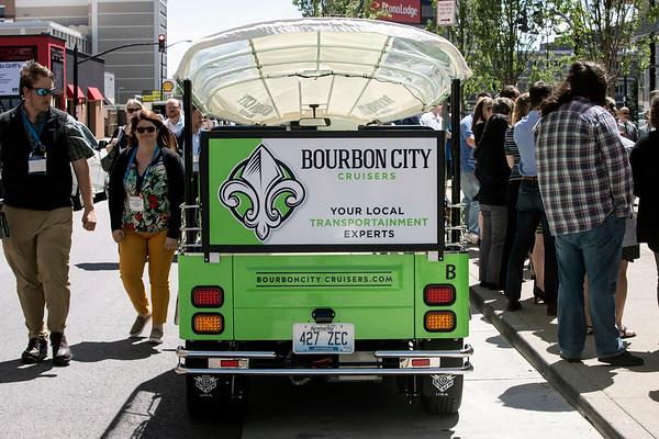 Pedestrians along Liberty Street on Monday took interest in the Bourbon City Cruisers new Tuk Tuk tour vehicles. 5/20/19