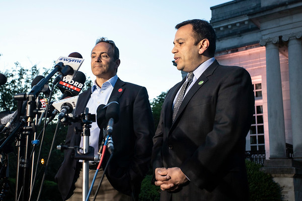 Matt Bevin's new running mate Ralph Alvarado stood by his side during a post election press conference in front of the governor's mansion on Tuesday night. 5/21/19
