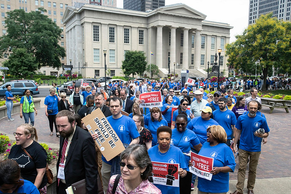 After a march from the Presbyterian headquarters on Witherspoon Street, supporters of cash bail reform rallied in Jefferson Square on Wednesday afternoon. 6/12/19