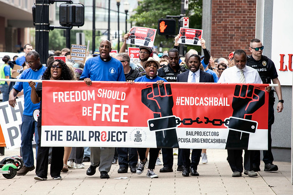A large group marched through downtown Louisville on Wednesday afternoon as part of a rally organized by the Presbyterian Church and The Bail Project. 6/12/19