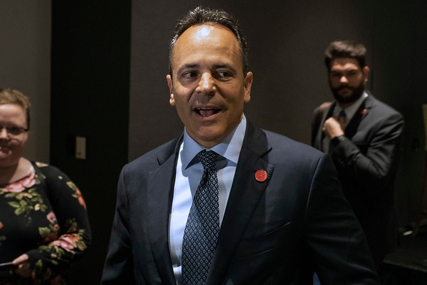 Kentucky governor Matt Bevin took pause on his way out to speak to members of the Kentucky Chamber after being a featured speaker at a breakfast event in the Downtown Marriott on Friday morning. 7/12/19