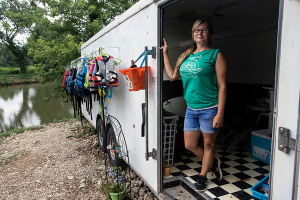 Brittany Nachand operates Nachand Canoe & Kayak Rental in a small cove on Harrods Creek in Prospect. 7/18/19