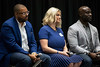 "Stacey Wade, Leah Schultz, and Marvin Boakye listen to an audience question during a discussion Tuesday morning about ""Diversity, Equity and Inclusion"" in the corporate culture. 7/23/19"