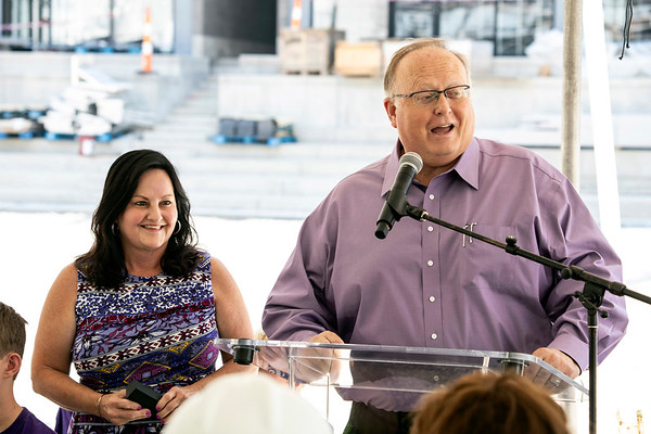 Dr. Mark and Cindy Lynn speak during a Monday afternoon press conference where LouCity FC announced the new stadium name will be Lynn Family Stadium. 8/5/19