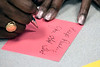Handwritten notes of encouragement were included in bags filled with school supplies for returning students during an AT&T organized event at Shawnee High School on Tuesday morning. 8/13/19