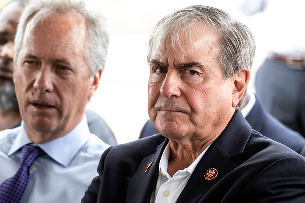 Louisville mayor Greg Fischer and US congressman John Yarmuth sat side by side during a groundbreaking ceremony for the Louisville Urban League Sports and Learning Complex at 3029 W. Muhammad Ali Blvd on Tuesday afternoon. 8/27/19