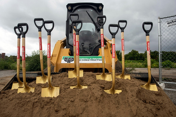Ceremonial shovels wait to be used during a Tuesday afternoon groundbreaking on the planned Louisville Urban League Sports and Learning Complex at 3029 W. Muhammad Ali Blvd. 8/27/19
