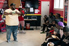 Lorenzo P. Lewis of the Confess Project spoke to a gathering at the Campus Barber Shop on Saturday about ways for men to improve their mental health by confiding in friends. 9/7/19