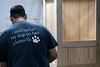 Carpenter Jeff Szymansky works on a custom built doghouse in the workshop at Kentucky Barnwood Kennels. 9/20/19