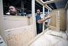 Danny Hobbs and Jeff Szymansky assemble a custom built doghouse in the workshop at Kentucky Barnwood Kennels. 9/20/19