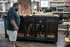 Roy Mills' German Shepherd Samantha takes a closer look at one of the custom doghouses being built at Kentucky Barnwood Kennels. 9/20/19