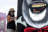 Artist Braylyn Resko Stewart put the finishing touches on one of his Louder Than Life monoliths on Sunday afternoon. 9/29/19