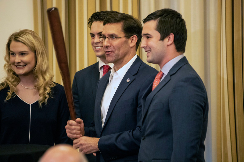 US Secretary of Defense Mark Esper received a Louisville Slugger bat during his visit to the University of Louisville on Friday afternoon. 10/4/19