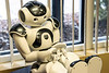 A more expensive robot called Nao awaits a few updates at the Spalding enTECH facility before being called back into service with patients. 10/7/19