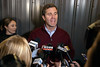 Andy Beshear spoke to the media during a last minute campaign stop at Mile Wide Brewery on election eve Monday night. 11/4/19