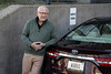 """With a personalized plate that reads WORDS and a """"narrator parking"""" space, Barry Bernson arrives for a recording session at the American Printing House for the Blind. 11/14/19"""