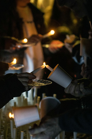 Local students volunteered to light candles for people participating in the Bobby Ellis Memorial Vigil on Sunday night at Byck Elementary. 11/24/19