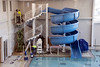 The recreational side of the swimming pool at the West Broadway YMCA features a giant water slide. 12/4/19