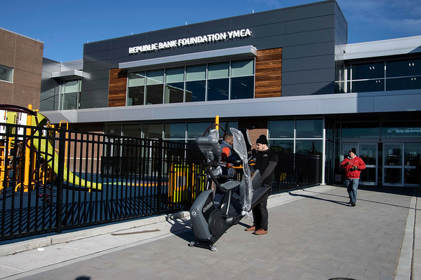 Equipment was moved into the YMCA at 1720 West Broadway on Wednesday morning as the new 77,000 square foot, state-of-the-art facility prepares for its grand opening on December 14th. 12/3/19