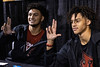 """UofL football recruits Jordan Watkins and Josh Minkins flashed the """"L"""" sign on Wednesday night after signing letters of intent together. 12/18/19"""