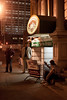 Lively conversation can always be found on sidewalks late into the night. (Photo by Marty Pearl)