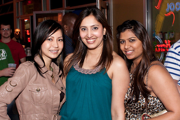 (Left to Right) Swapna Gupta, Gina Shah, and Ahi Shah find good times at Angels Rock Bar. (Photo by Marty Pearl)