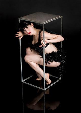 Burlesque performer Louise DeVille of the Drag King Femme Show, Paris, France
