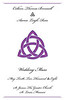 """Front page:  8.5"""" x 5.5"""" folded wedding program.  The couple wanted the Trefoil design incorporated into the program. Their colors were the purple shown and white.  Printed on a linen look paper."""