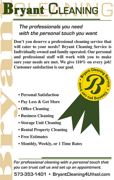 """This 8.5"""" x 5.5"""" advertisement piece is for a local home cleaning business.  They wanted something that looked professional and that they could print at home to keep the cost down.  Done in Illustrator and InDesign."""