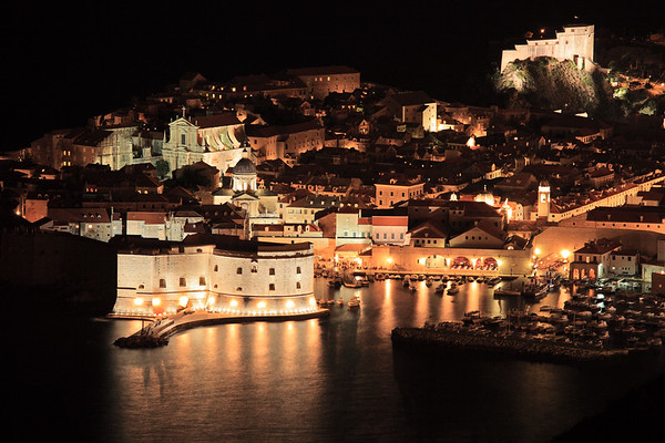 A panorama of old city of Dubrovnik by night, Croatia.