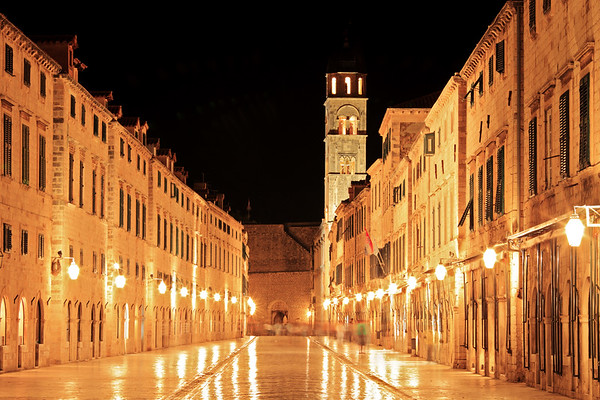 Main walking street in Dubrovnik at night, Croatia.