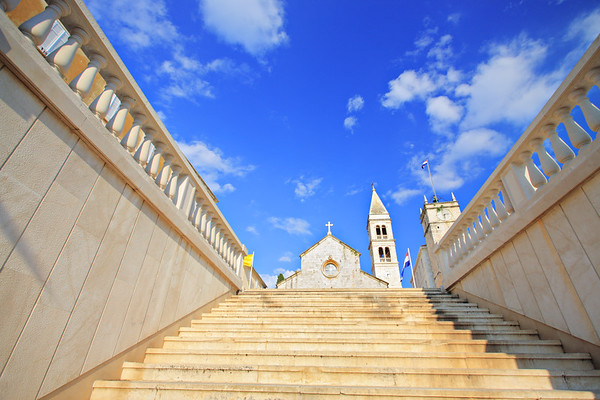 View of the main cathedral in Supetar, on the island of Brac, Croatia