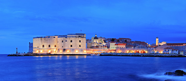 A panorama of an old city of Dubrovnik by night, Croatia