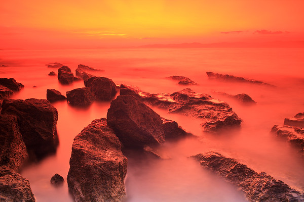Rocks at sunset on the island of Brac, Croatia