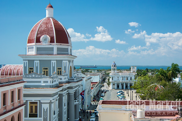 View of the Parliament building from a rooftop bar in Cienfuegos