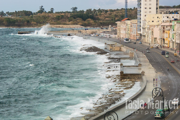 Wild day on the Malecon. You will get wet if you walk on the water side