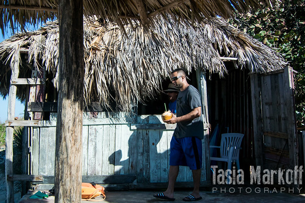 Shack holding coconuts and rum