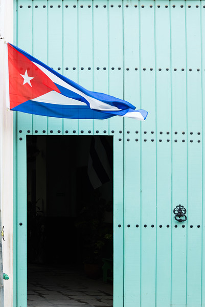 Flag and Door, Havana, Cuba.