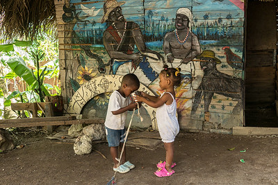 A painting on the exterior of a hut used for Voodoo rituals. Barrio San Francisco, La Havana, April 2014.