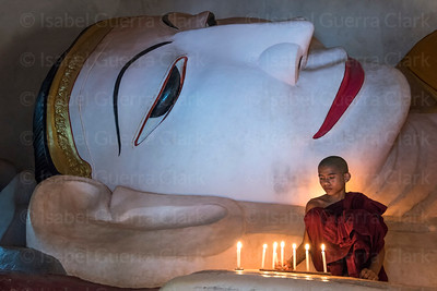 Novice Monk and Reclining Buddha, Burma