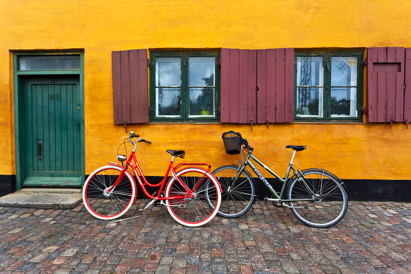 COPENHAGEN. OLD YELLOW WORKER MAN HOUSES. DENMARK.