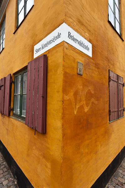 COPENHAGEN. OLD YELLOW WORKER MAN HOUSES. DENMARK.